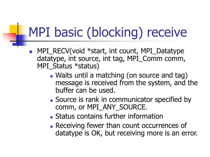 MPI basic (blocking) receive