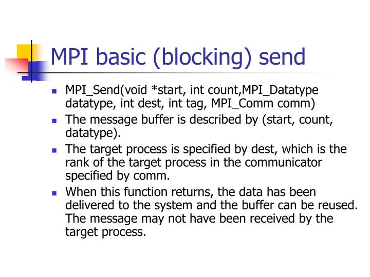 MPI basic (blocking) send