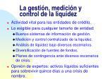 la gesti n medici n y control de la liquidez