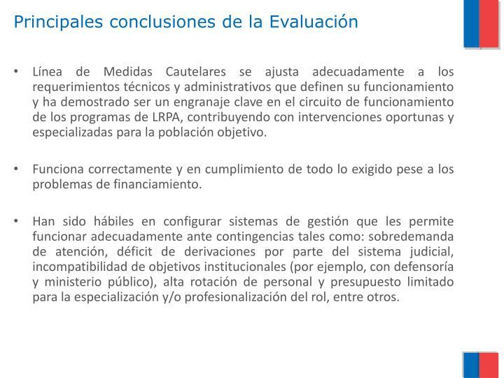 Principales conclusiones de la Evaluación