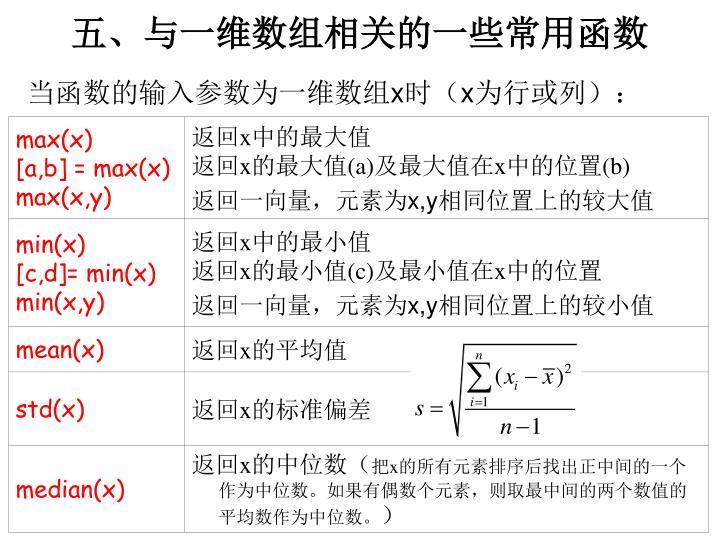 五、与一维数组相关的一些常用函数