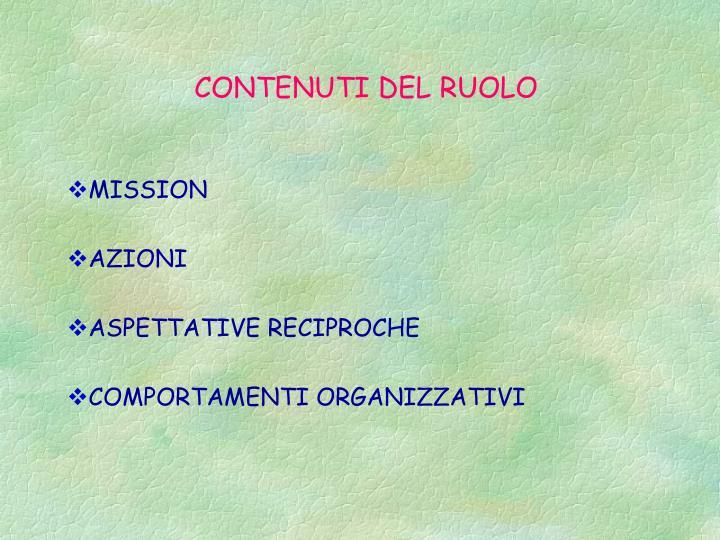 CONTENUTI DEL RUOLO