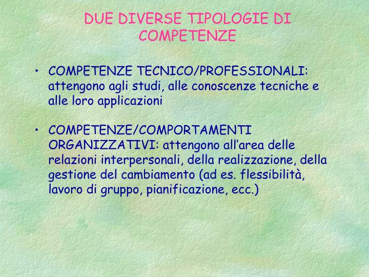 DUE DIVERSE TIPOLOGIE DI COMPETENZE