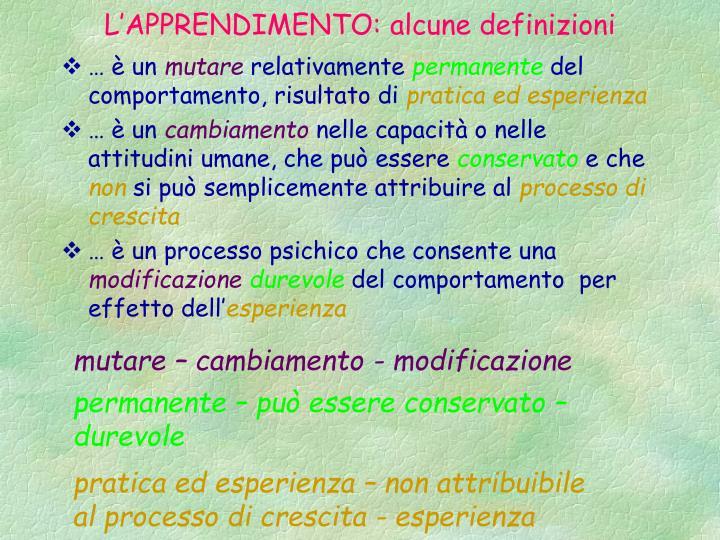 L'APPRENDIMENTO: alcune definizioni