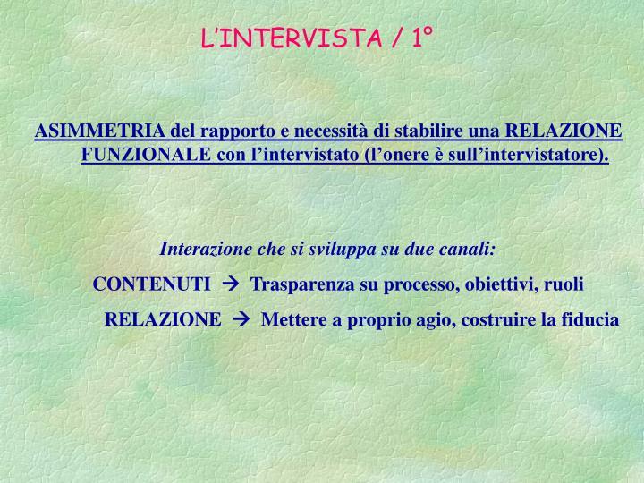 L'INTERVISTA / 1°