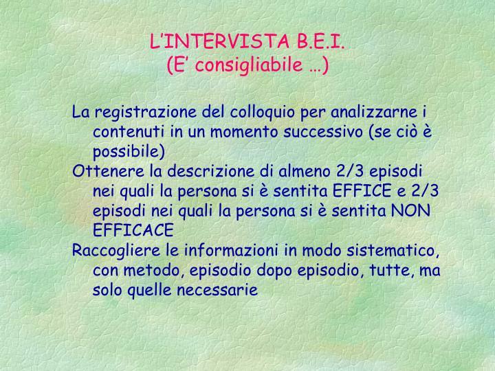L'INTERVISTA B.E.I.
