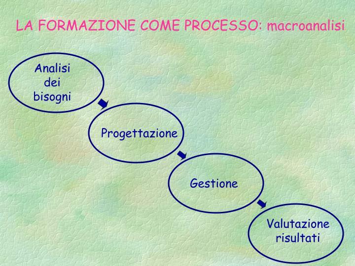 LA FORMAZIONE COME PROCESSO: macroanalisi