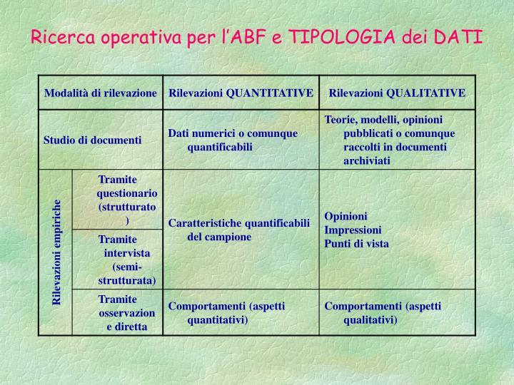 Ricerca operativa per l'ABF e TIPOLOGIA dei DATI