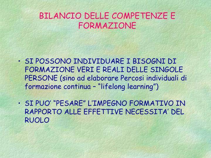 BILANCIO DELLE COMPETENZE E FORMAZIONE