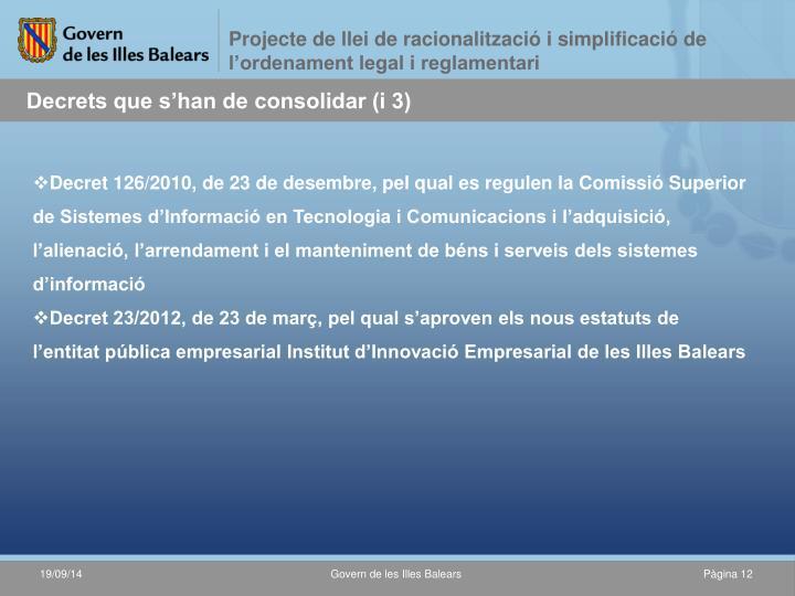 Projecte de llei de racionalització i simplificació de l'ordenament legal i reglamentari