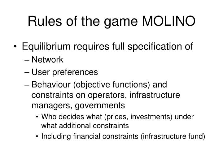 Rules of the game MOLINO