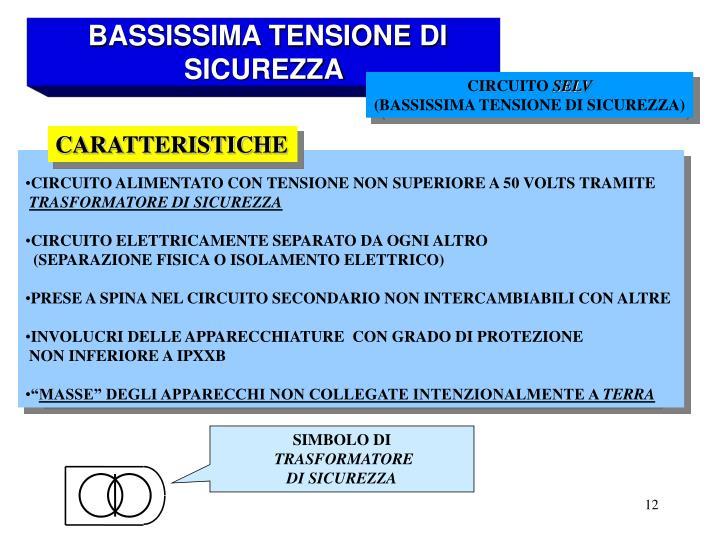 BASSISSIMA TENSIONE DI SICUREZZA