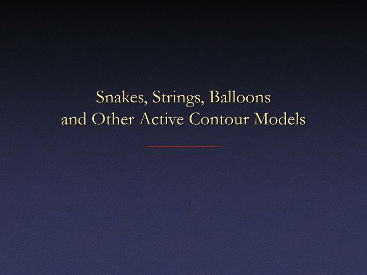 Snakes strings balloons and other active contour models