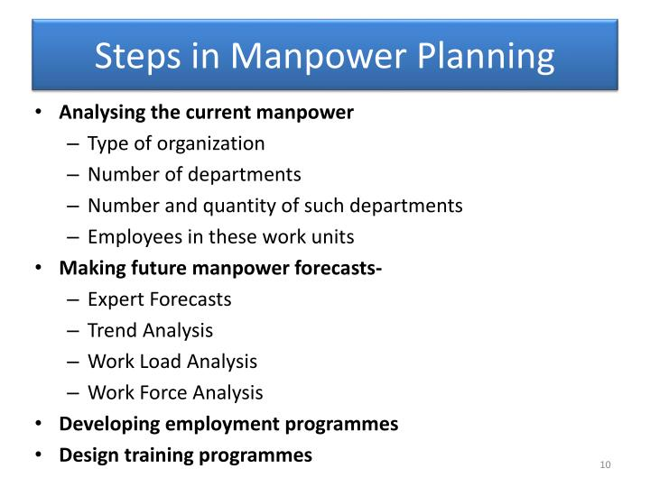 5 steps in manpower planning Guide on developing a hrm plan civil service branch june 1996 table of contents 5 steps in developing a hrm plan 1 l increase in manpower requirements l addition of consumer protection responsibilities.