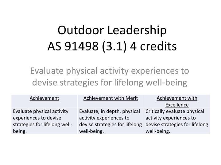 Outdoor leadership as 91498 3 1 4 credits