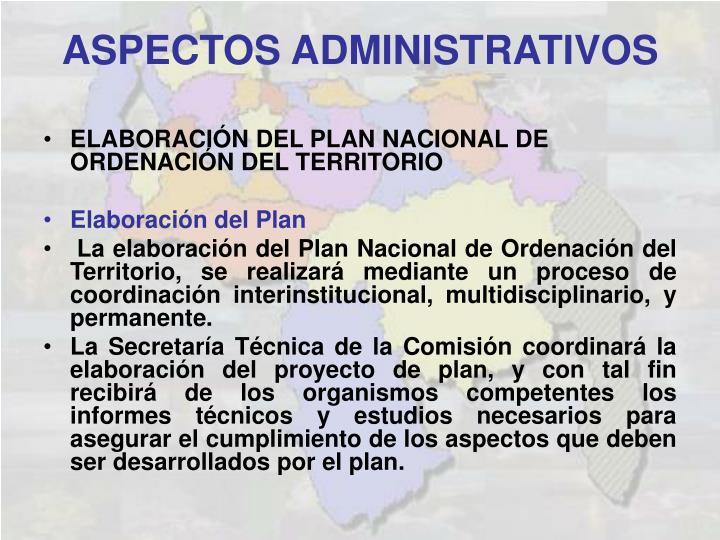 ELABORACIÓN DEL PLAN NACIONAL DE ORDENACIÓN DEL TERRITORIO