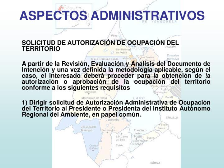 SOLICITUD DE AUTORIZACIÓN DE OCUPACIÓN DEL TERRITORIO