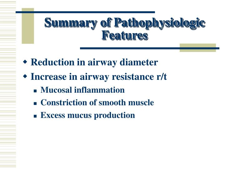 Summary of Pathophysiologic Features