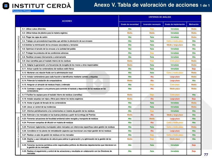 Anexo V. Tabla de valoración de acciones