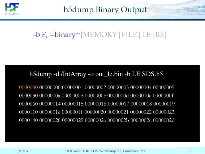 h5dump Binary Output