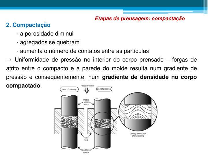 Etapas de prensagem: compactação