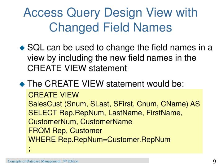 Access Query Design View with Changed Field Names