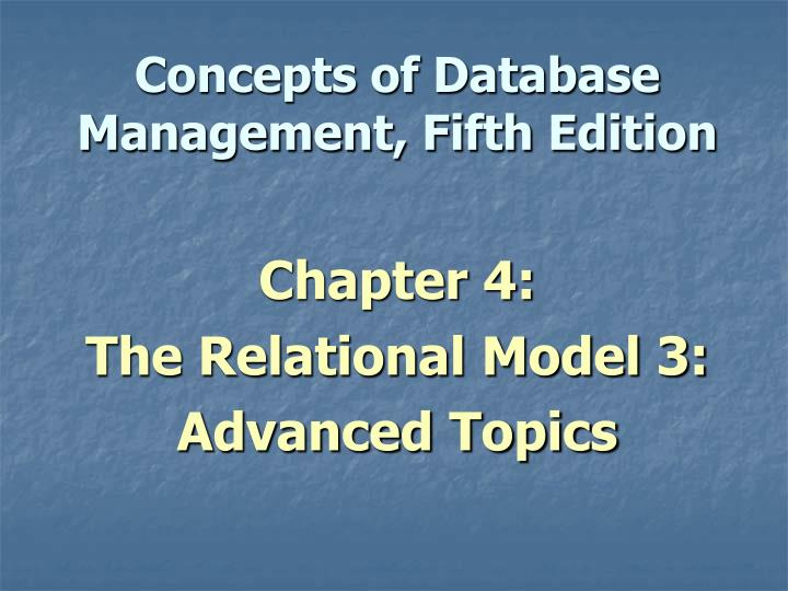 concepts of database management fifth edition