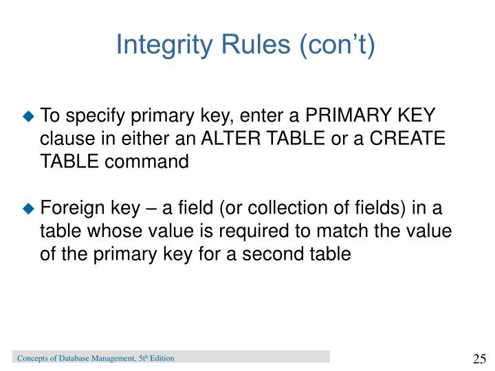 Integrity Rules (con't)