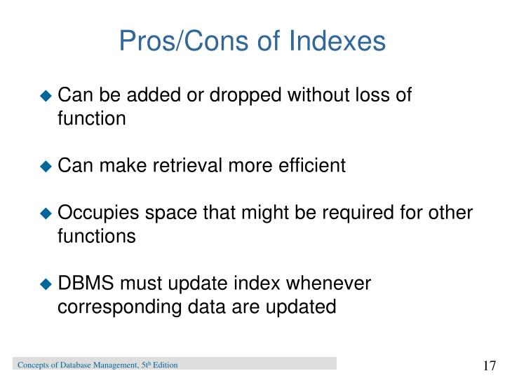 Pros/Cons of Indexes
