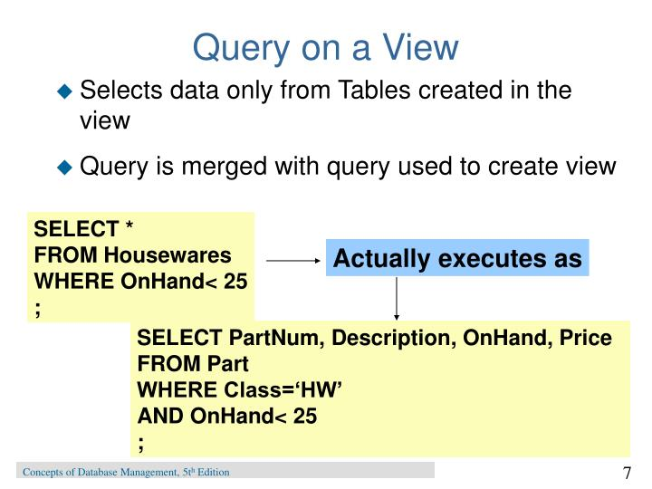 Query on a View