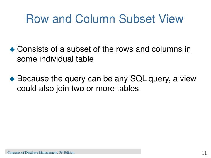 Row and Column Subset View