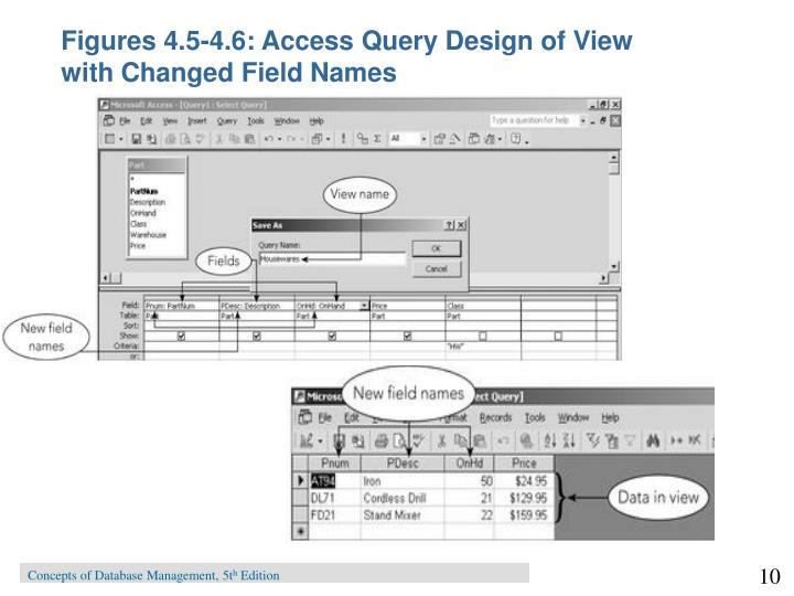 Figures 4.5-4.6: Access Query Design of View