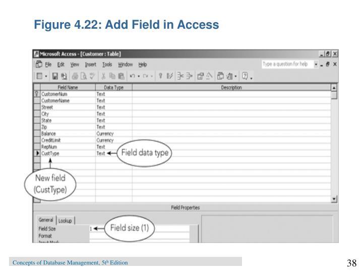 Figure 4.22: Add Field in Access