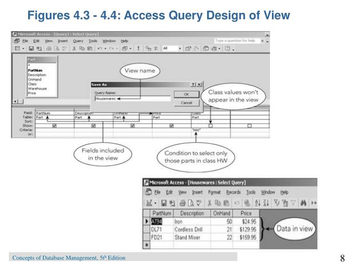 Figures 4.3 - 4.4: Access Query Design of View