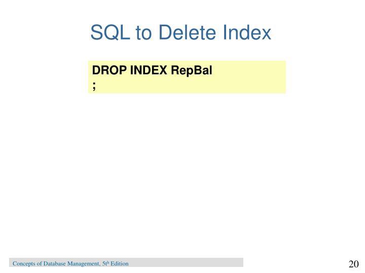 SQL to Delete Index