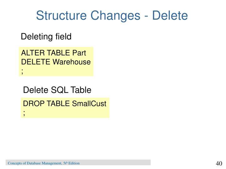 Structure Changes - Delete