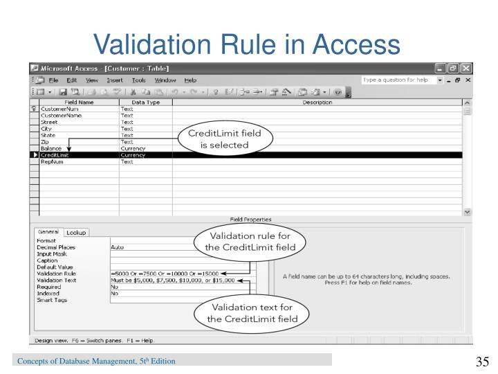 Validation Rule in Access