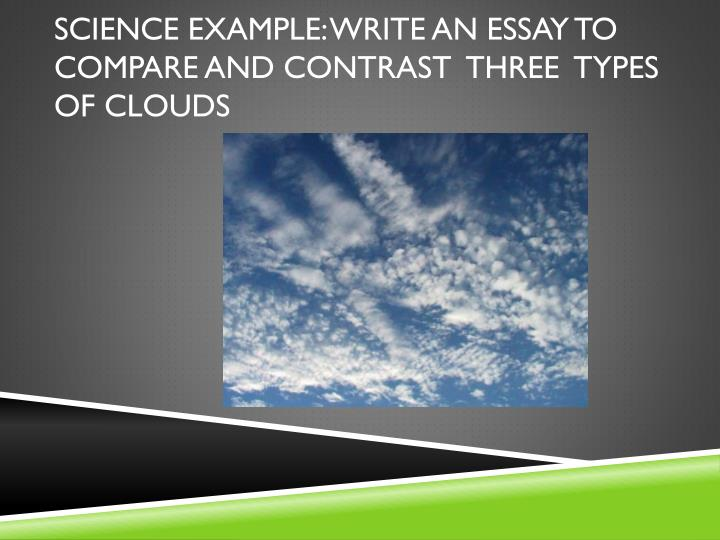Science example: Write an essay to compare and contrast  three  types of Clouds