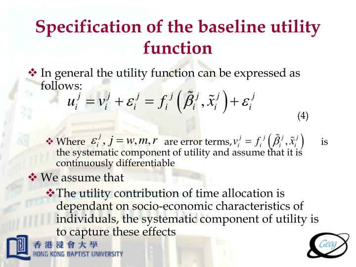 Specification of the baseline utility function