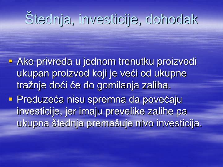 Štednja, investicije, dohodak