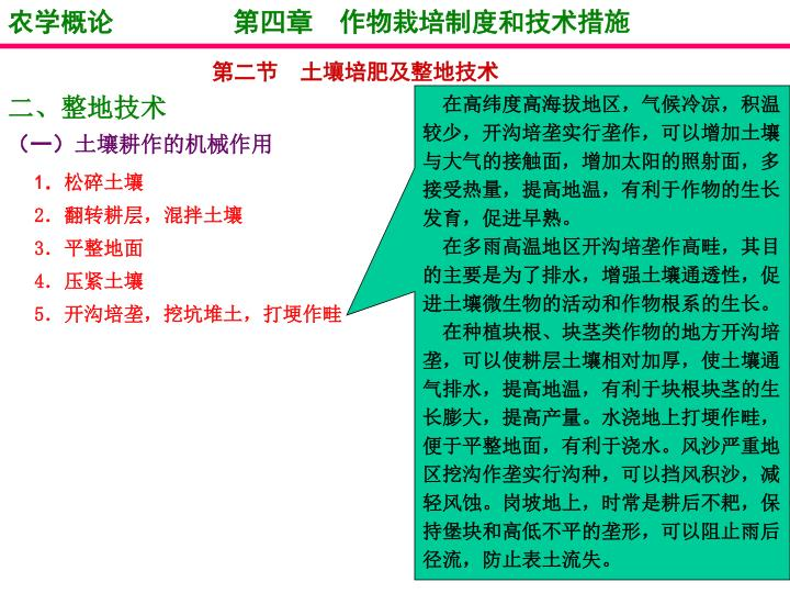 农学概论         第四章  作物栽培制度和技术措施