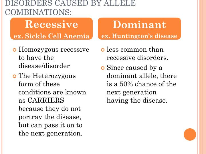 DISORDERS CAUSED BY ALLELE COMBINATIONS: