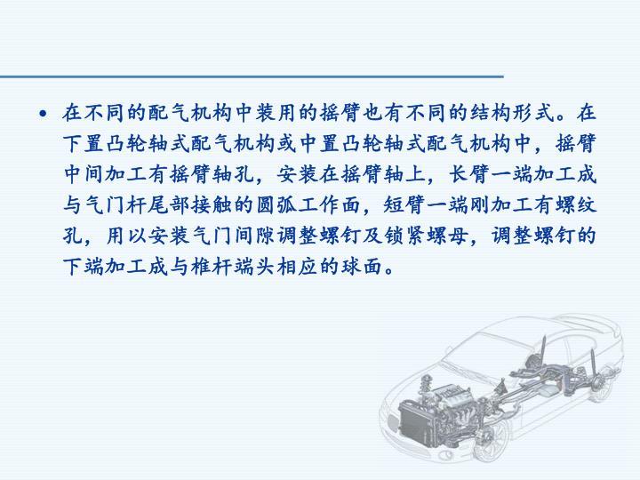 在不同的配气机构中装用的摇臂也有不同的结构形式。在下置凸轮轴式配气机构或中置凸轮轴式配气机构中,摇臂中间加工有摇臂轴孔,安装在摇臂轴上,长臂一端加工成与气门杆尾部接触的圆弧工作面,短臂一端刚加工有螺纹孔,用以安装气门间隙调整螺钉及锁紧螺母,调整螺钉的下端加工成与椎杆端头相应的球面。