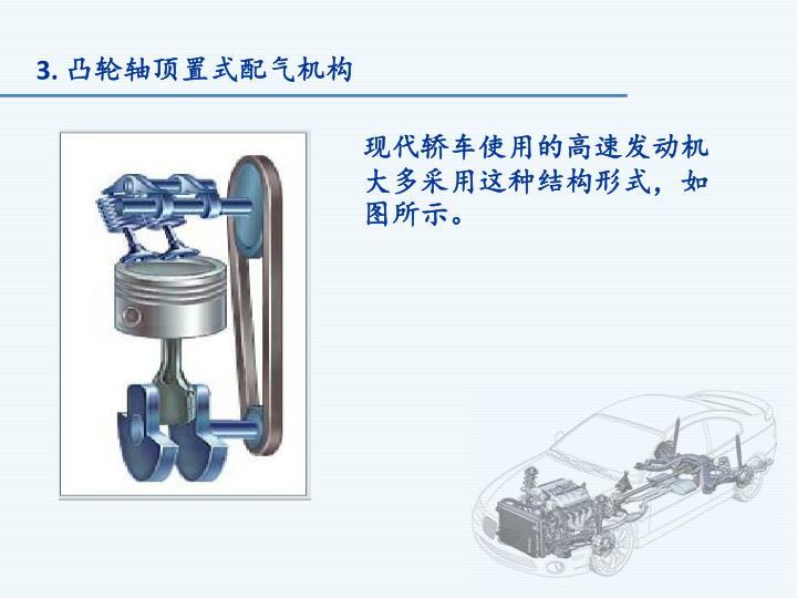 现代轿车使用的高速发动机大多采用这种结构形式,如图所示。