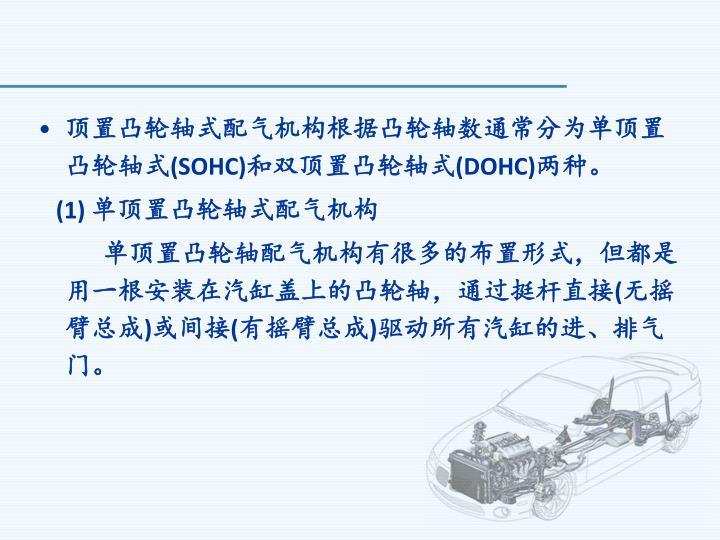 顶置凸轮轴式配气机构根据凸轮轴数通常分为单顶置凸轮轴式