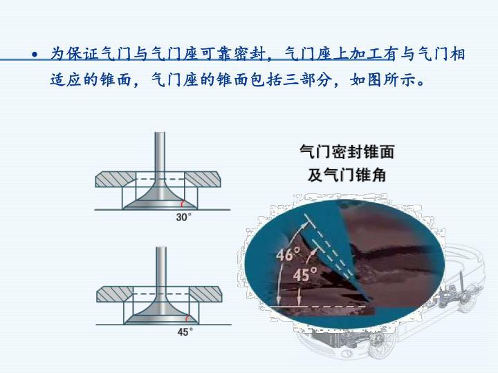 为保证气门与气门座可靠密封,气门座上加工有与气门相适应的锥面,气门座的锥面包括三部分,如图所示。