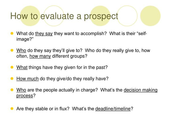 How to evaluate a prospect