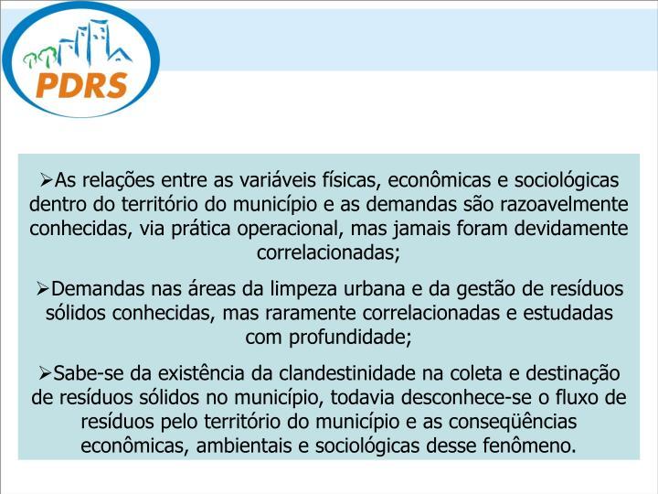 As relações entre as variáveis físicas, econômicas e sociológicas dentro do território do município e as demandas são razoavelmente conhecidas, via prática operacional, mas jamais foram devidamente correlacionadas;