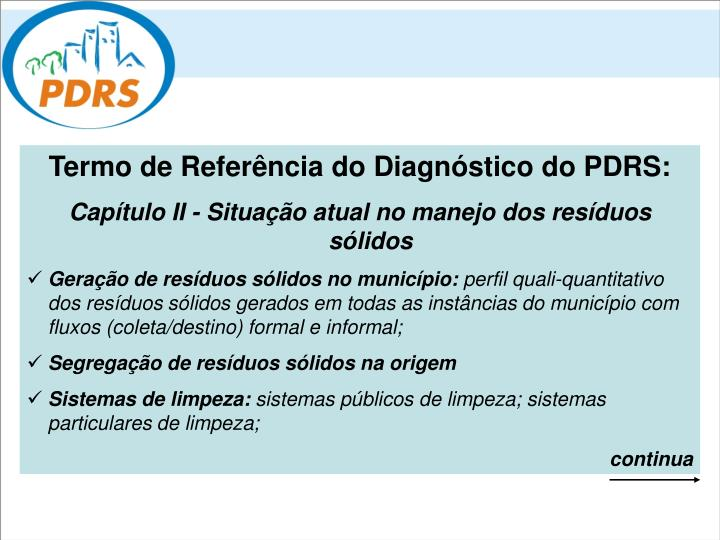 Termo de Referência do Diagnóstico do PDRS: