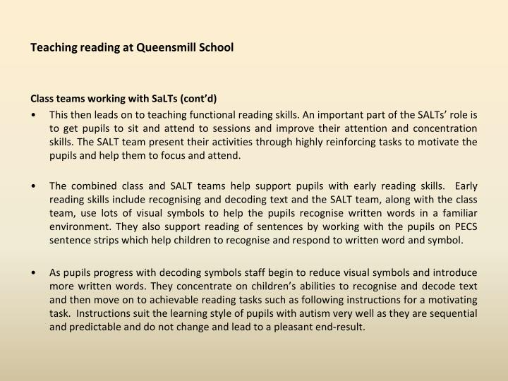 Teaching reading at Queensmill School